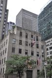 New York City 2nd Juli: Rockefeller skyskrapadetaljer i Manhattan från New York City i Förenta staterna Royaltyfri Foto