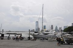 New York City, 2nd July: New Jersey Panorama from Brookfield Place Waterfront from New York City in United States. New Jersey Panorama from Brookfield Place Royalty Free Stock Image