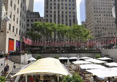 New York City, 2nd July: Rockefeller Plaza with American Flags display in Manhattan from New York City in United States royalty free stock photo