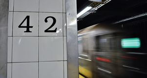 New York City 42nd Street Subway MTA  Train City Commute stock image