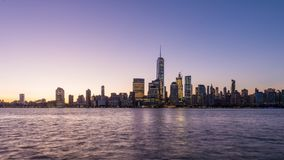 New York City. Financial district skyline at dawn on the Hudson River stock video