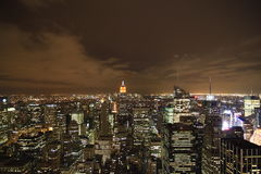 New York City at night. Standing on the Rockefeller Center having a view over New York City with the Empire State Building Royalty Free Stock Images
