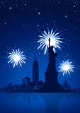 New York City at Night. Fireworks on New York City Royalty Free Stock Images