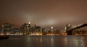 New York City At Night. View New York City At Night from Brooklyn stock image