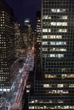 New York City at Night. Long exposure image of NYC, looking up 3rd Ave Stock Photo
