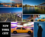 New York City at night. A collage of new york city at night Royalty Free Stock Photo