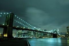New York city at night. Manhattan skyline and brooklyn bridge at night royalty free stock photo