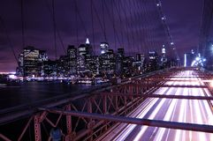 New York City at night. Brooklyn Bridge overlook at Manhattan downtown skyline Royalty Free Stock Photo