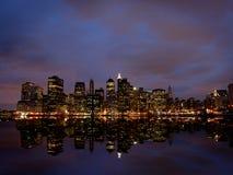 New York City at night. New York City skyline at night stock photo