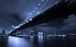 New York City at night. Manhattan Bridge Royalty Free Stock Photos