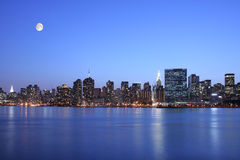 New York City at night. New York under the moonlight Royalty Free Stock Photo