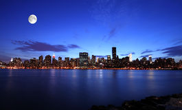 New York City at night. New York City under the moonlight Stock Photography