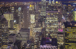 New York City at Night. Aerial View. HDR Image Stock Photos