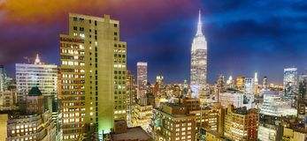 New York City by night. Aerial view of Manhattan lights, USA Stock Photography