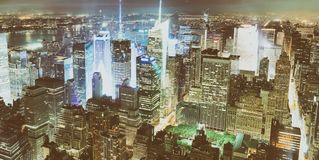 New York City by night. Aerial view of Manhattan lights, USA Stock Images