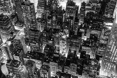 New York City at night in black and white Royalty Free Stock Photography