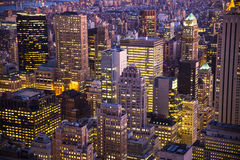 New York City Night Buildings. Night view of skyscrapers and buildings across New York City with lights Royalty Free Stock Photography
