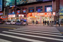 New York City at night. NEW YORK - CIRCA MARCH 2016: New York City at night. The City of New York, often called New York City or simply New York, is the most Stock Photos