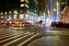 New York City at night. NEW YORK - CIRCA MARCH 2016: New York City at night. The City of New York, often called New York City or simply New York, is the most royalty free stock photos