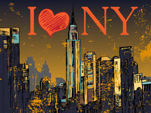 New York city night cityscape. New York city hand drawn night cityscape Royalty Free Stock Image