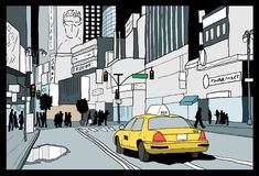 New York City night. Night in New York City - illustration of Times Square, Midtown Manhattan Royalty Free Stock Photos