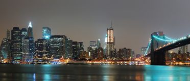 New York City night panorama Stock Photo