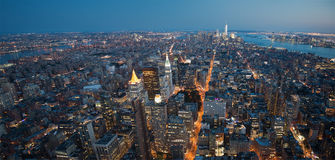 New York City Night Panorama Stock Photography
