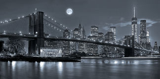 New York City at night. Panoramic view New York City Manhattan downtown skyline at night with skyscrapers and blue tonality Royalty Free Stock Photos