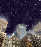 New York City. Night sky above Manhattan skyscrapers Royalty Free Stock Photo