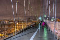 New York city night skyline from Brooklyn bridge Stock Photo
