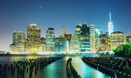 New York City night. New York City, USA skyline at night view from Brooklyn royalty free stock photo