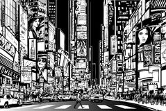 New York city at night. Vector Illustration of a street in New York city at night Stock Image