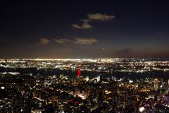 New York City at night. View of New York City at night royalty free stock photography