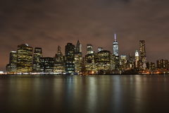 New York City night view. NYC, night view taken on September 2014 from Brooklyn Stock Image
