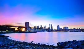 New York City no crepúsculo Fotos de Stock