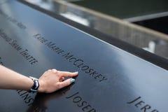 New York City 9/11 nombre del monumento Fotos de archivo libres de regalías