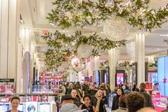 Macy`s Herald Square store decorated for Christmas Royalty Free Stock Photo