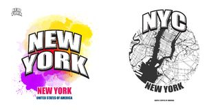 New York City, Nueva York, dos ilustraciones del logotipo