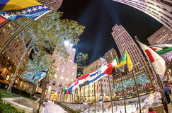 NEW YORK CITY, NY - NOVEMBER 5: Rockefeller Center on Fifth Aven. Ue at night on November 5, 2015 in New York City. Fifth Avenue has the world's most expensive Royalty Free Stock Photography