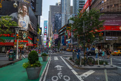 New York City, NY/USA - circa July 2013: Bicycle track on the street nearby Time Square in New York  City Royalty Free Stock Images