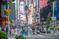 New York City, NY/USA - circa July 2013: Bicycle track on the street nearby Time Square in New York  City Stock Image