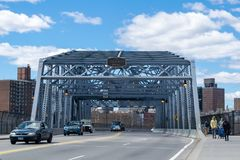 New York City, NY/USA - 04/09/2019: Looking eastward across the145th Street Bridge, leading from the Bronx to Harlem in stock image