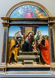 New York City The Met - Raphael - Madonna and Child Enthroned with Saints. New York City, NY USA - 05/11/2015 - New York City The Met - Raphael - Madonna and Royalty Free Stock Photography