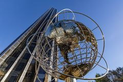 Trump International Hotel and Tower skyscraper with metal globe sculpture. Midtown, Manhattan, New York City stock image