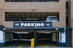 New York City, NY/USA - 3/19/2019: Parking lot entrance in Manhattan, NYC royalty free stock images