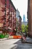 New York City, NY / USA - 08/01/2018: Urban scene in New York City`s Chinatown area of Manhattan, with the new World royalty free stock photos