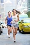New York City NYC runners - urban people running stock image