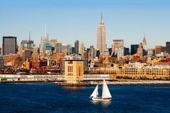 New York City och Hudson River Fotografering för Bildbyråer