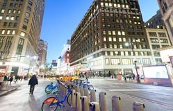 NEW YORK CITY - OCTOBER 23, 2015: Bike rental station at night. Bike rental is a new way to move across the city Stock Image