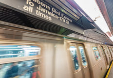 NEW YORK CITY - OCTOBER 24, 2015: Fast moving train in subway st. Ation. Subway is the fastest way to move across the city stock images